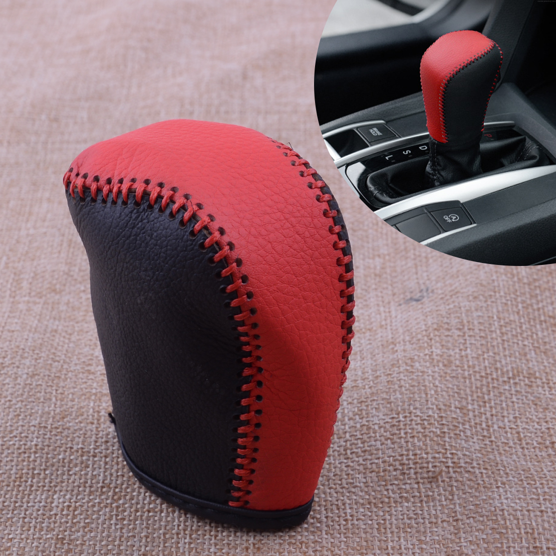 Black/&Red Leather Gear Shift Knob Head Cover Shell Trim fit For Honda Civic16-17