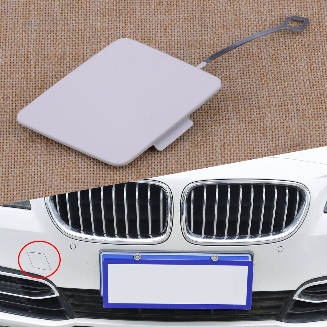 beler White Front Bumper Tow Hook Cap Cover Fit for BMW 528i 535i 535D 550i 2014-2016 51117332838 51117332682