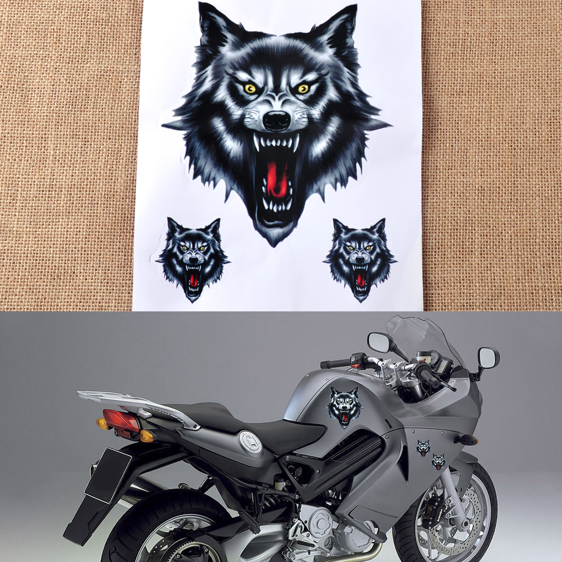 Wolf Head Decal Vinyl Sticker fit for Motorcycle Motorbike Car Truck Universal