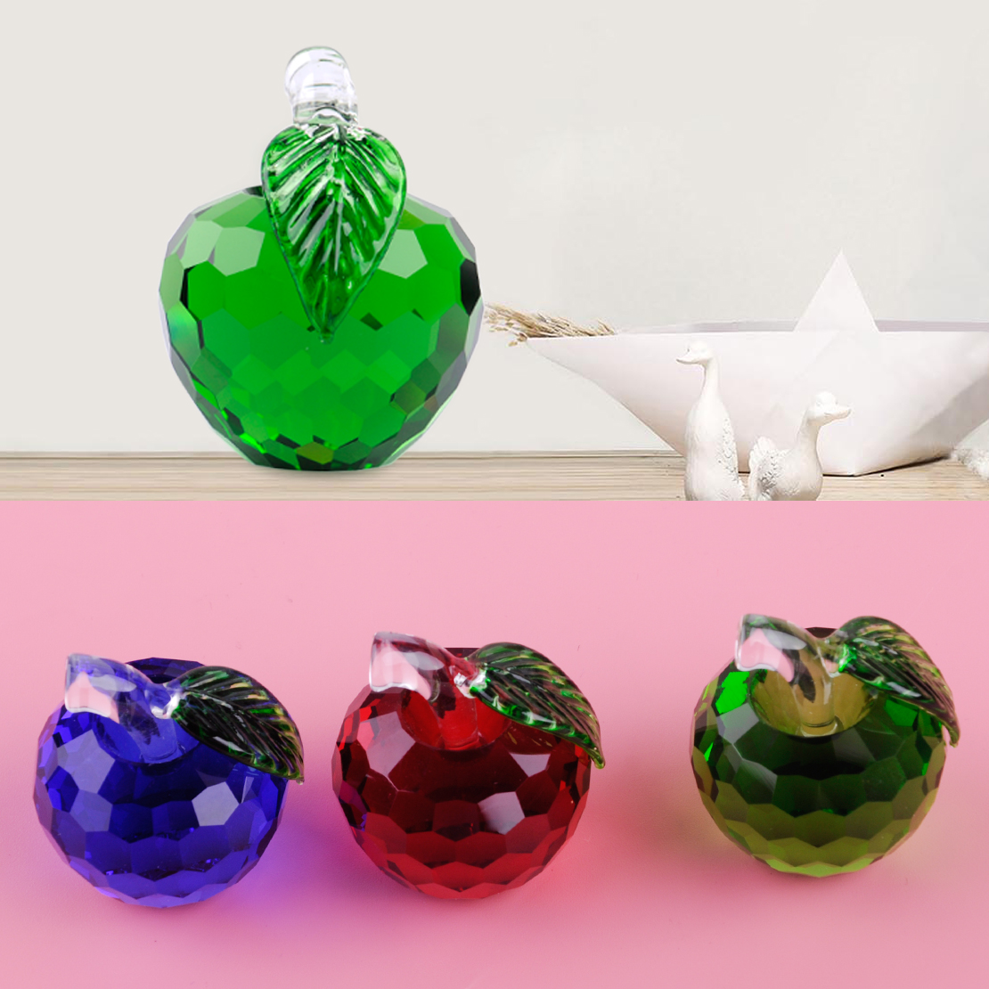Christmas Eve Gift 3D 40mm Crystal Paperweight Glaze Apple Figurine ...
